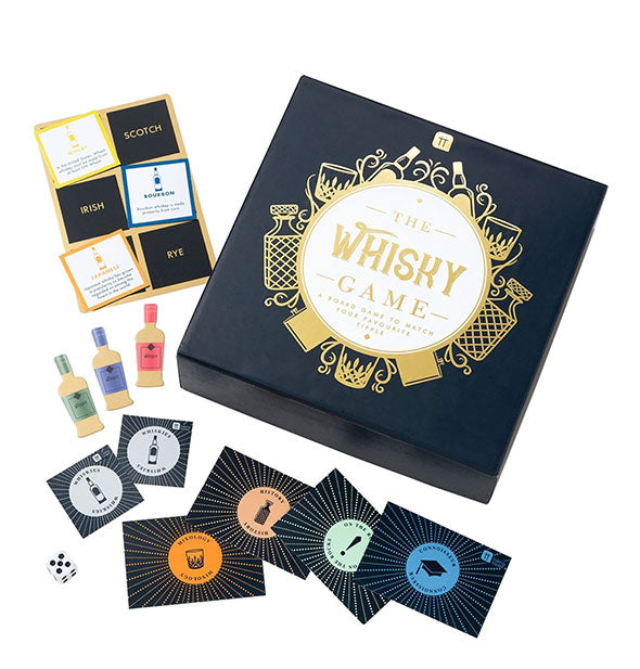 The Whisky Game with box and pieces displayed