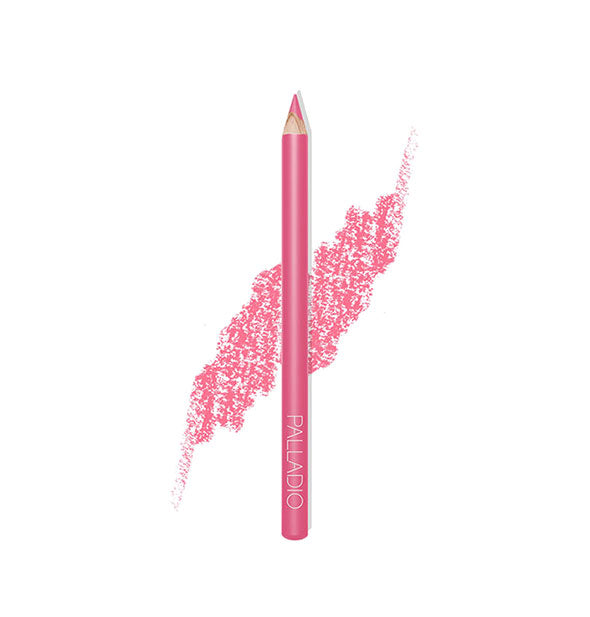 Palladio Lip Liner Pencil in the shade Tickle Me Pink with pencil stroke swatch sample behind.