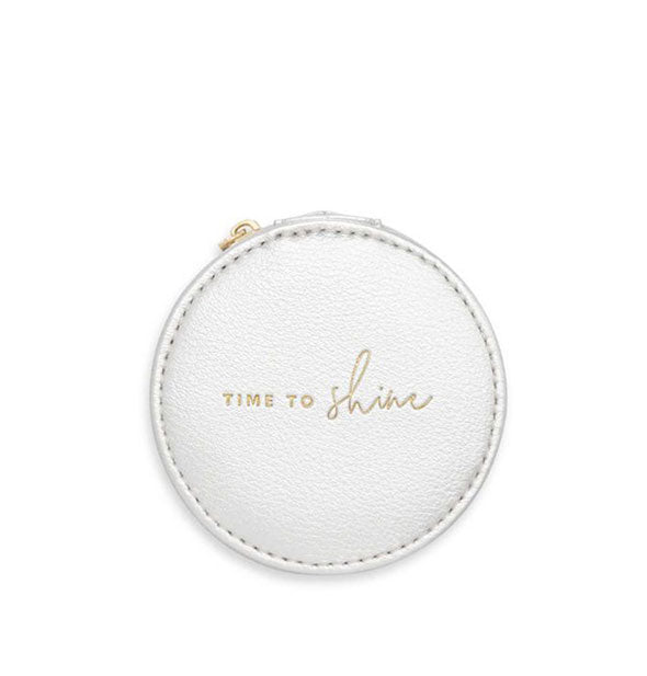 white round jewelry holder with text time to shine