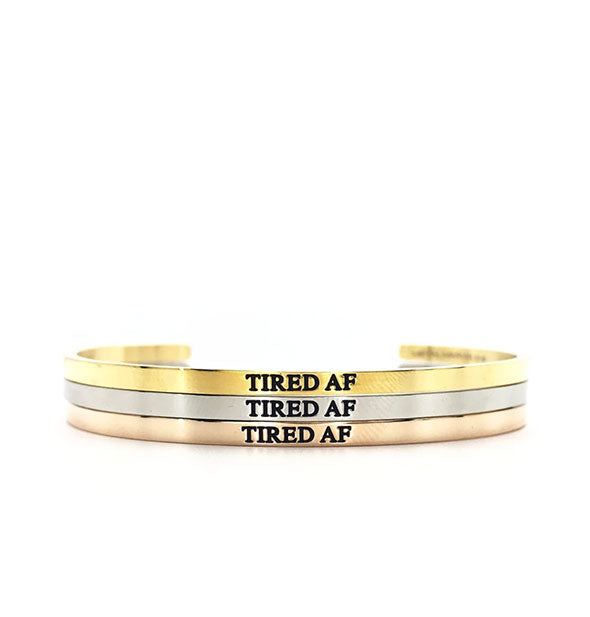 metal tired af bangles in gold silver and rose gold