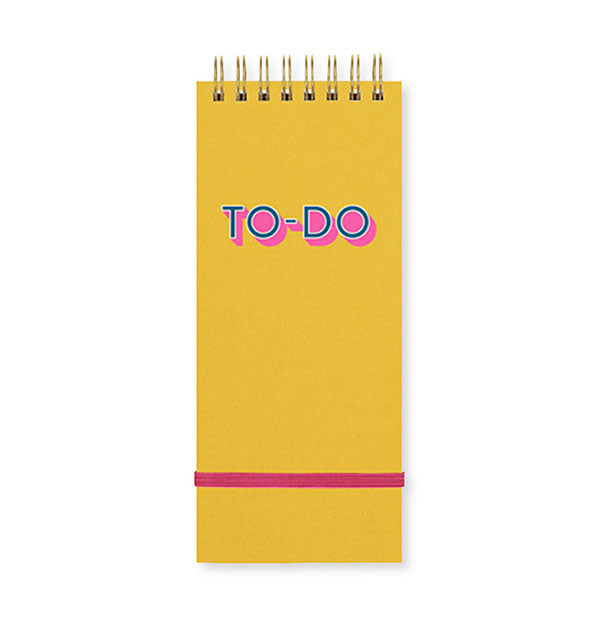 Yellow To-Do notepad with spiral binding and pink band