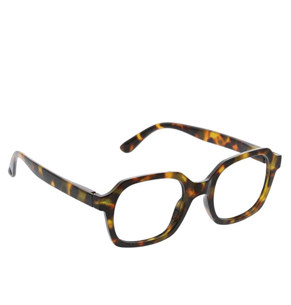 Reading glasses with angular tortoise shell frame