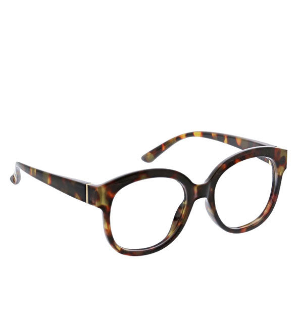 An angled front view of Peepers Catalina Readers in Tortoise.