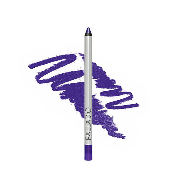Palladio liner pencil in purple shade with sample squiggle behind
