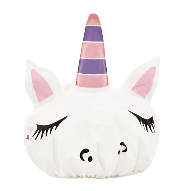 Unicorn shower cap with striped horn and facial details