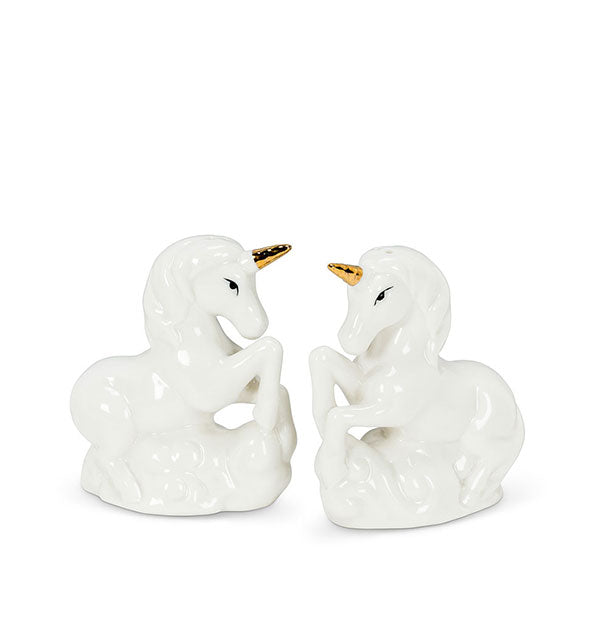 Abbott - White Porcelain Ceramic with Gold Horns Salt & Pepper Shakers