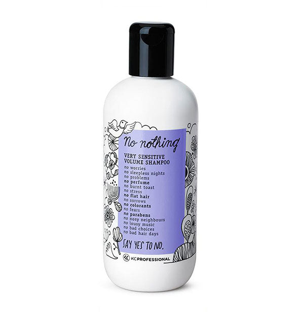 A bottle of No Nothing Very Sensitive Volume Shampoo with black cap and purple label surrounded by bird and flower illustrations.
