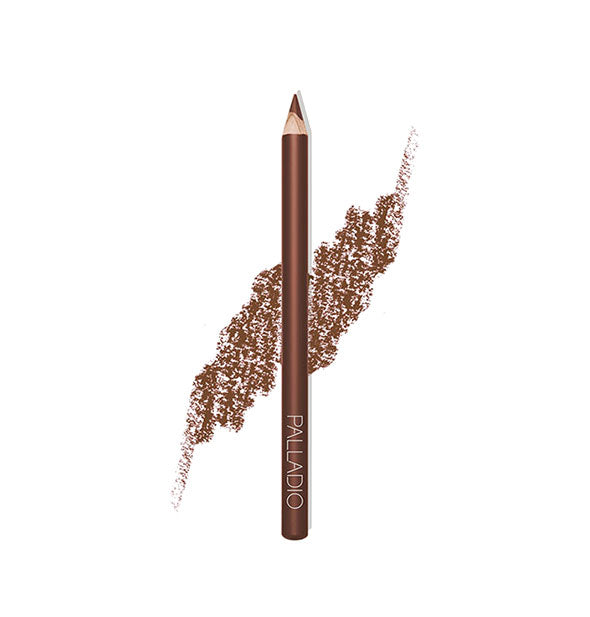Palladio Lip Liner Pencil in the shade Walnut with pencil stroke swatch sample behind.