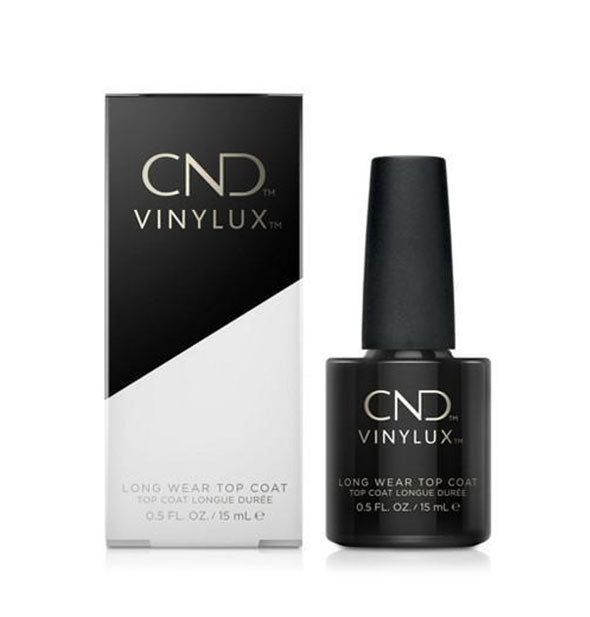 A bottle of CND Vinylux Long Wear Top Coat nail polish with box