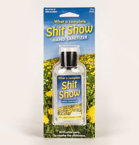 What a Complete Shit Show Hand Sanitizer bottle in packaging