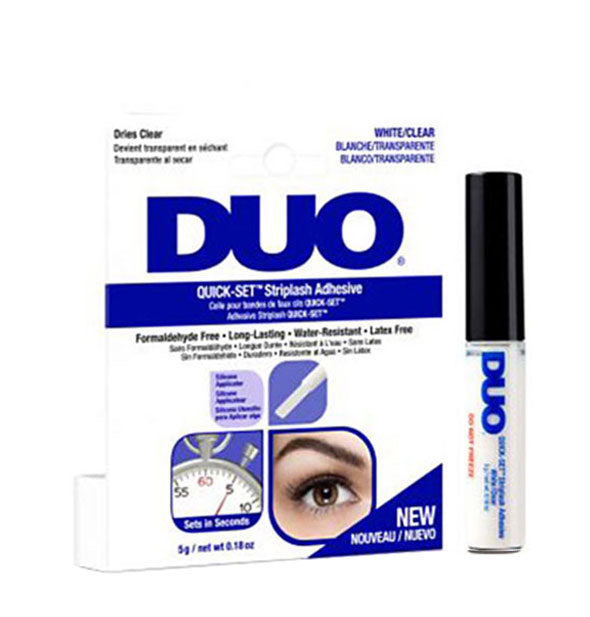 White Clear Duo Quick Set  Striplash Adhesive Water Resistant Latex Free
