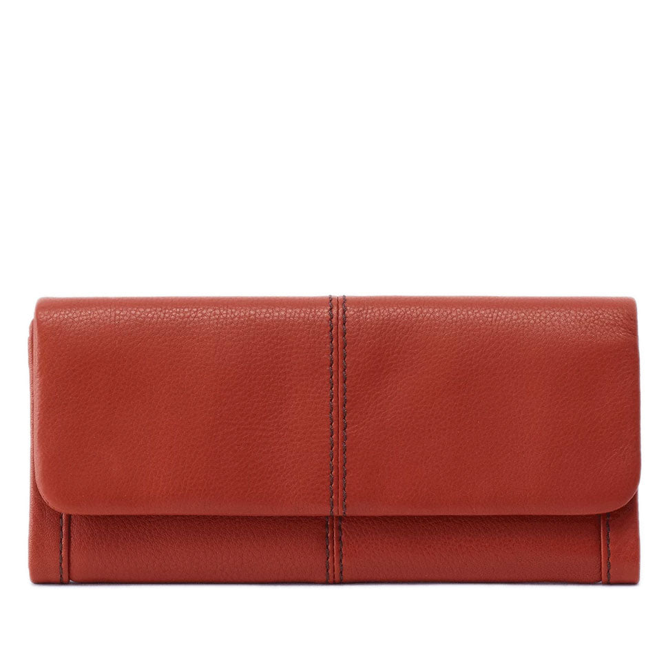 reddish brown textured leather wallet
