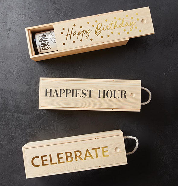 Grouping of wooden wine gift boxes