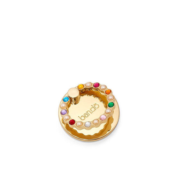 Gold tech ring with gemstone and pearl accents