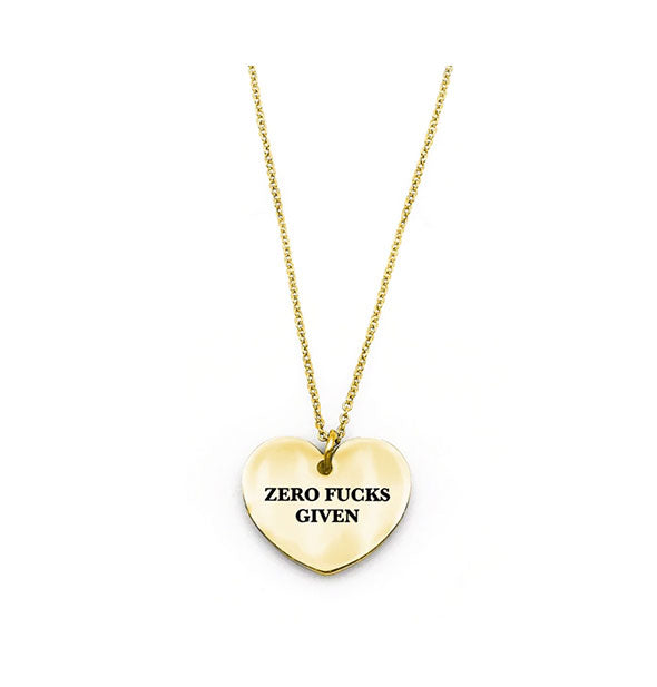 Heart-shaped Zero Fucks Given necklace in gold finish