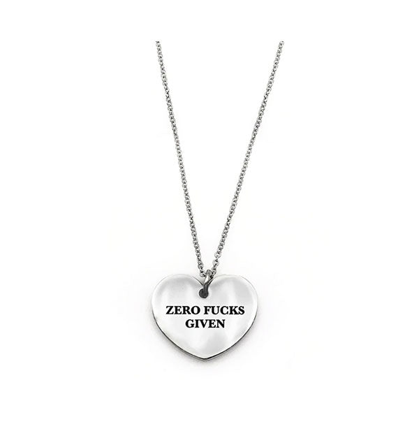 Heart-shaped Zero Fucks Given necklace in silver finish