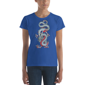 Light Blue Japanese Dragon Women's short sleeve t-shirt