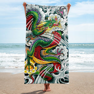 Green Japanese Dragon Towel
