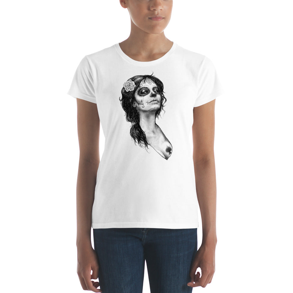 Catrina with rose Women's short sleeve t-shirt