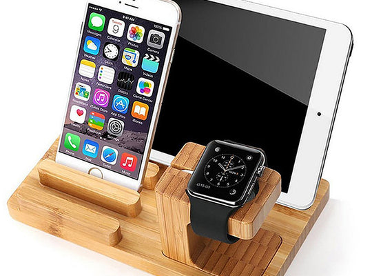 Bamboo Wood Desktop Charger 4 USB Ports Charging Station with Detachable Apple Watch Dock - CpuWarehouse.net