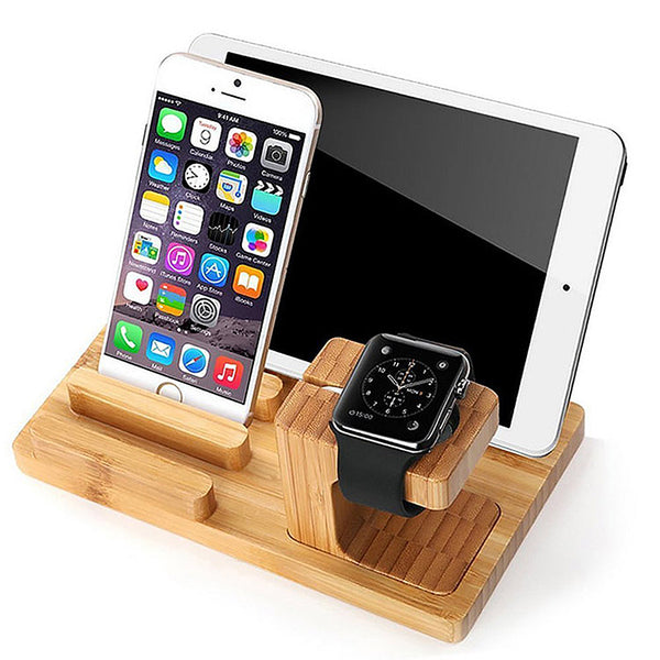 Bamboo Wood Desktop Charger 4 USB Ports Charging Station with Detachable Apple Watch Dock - CpuWarehouse.net Cell Phone Cases