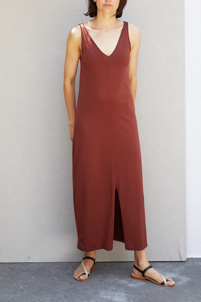 V Dress – Terracota
