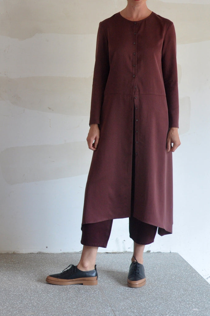 Cupro Buttoned Dress – Cacao - SISA