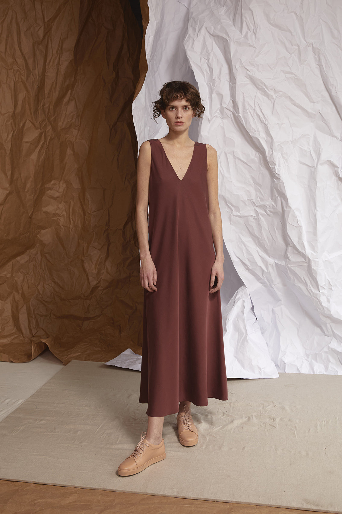 Bies Dress Cupro – Cacao