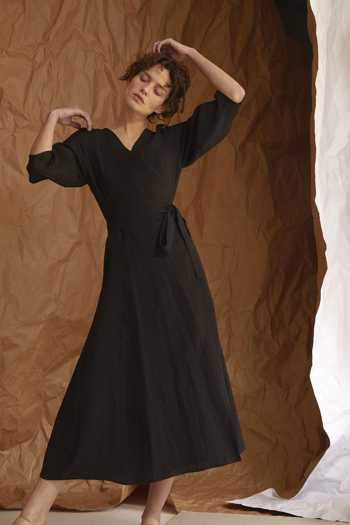 Manga Globo Cruzado Dress Linen – Black