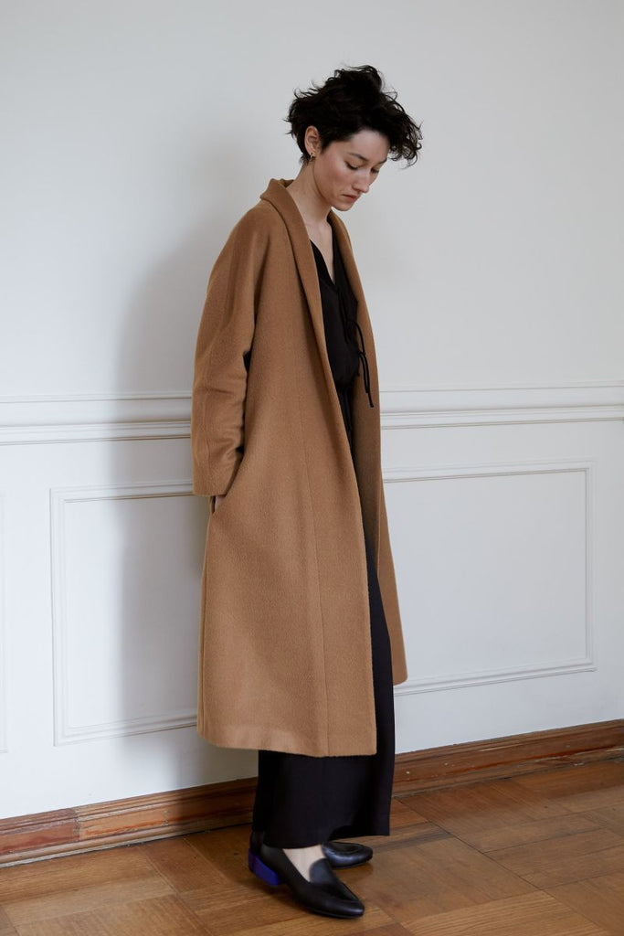 Long Baby Alpaca Coat - Camel