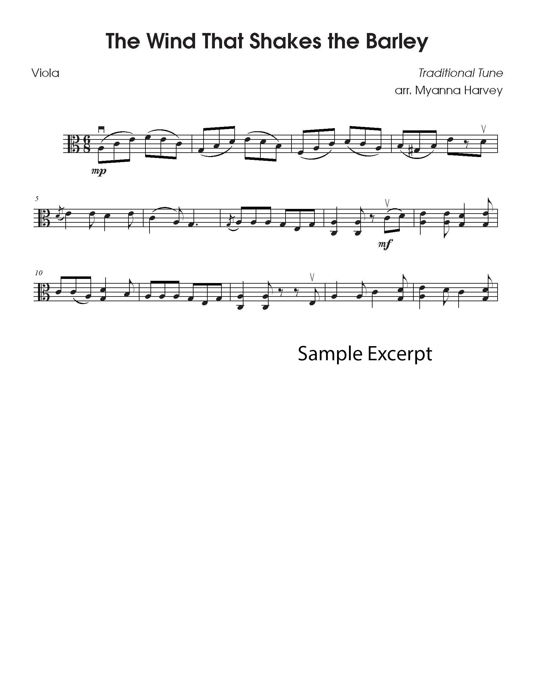 Solo viola fiddle tune sample page