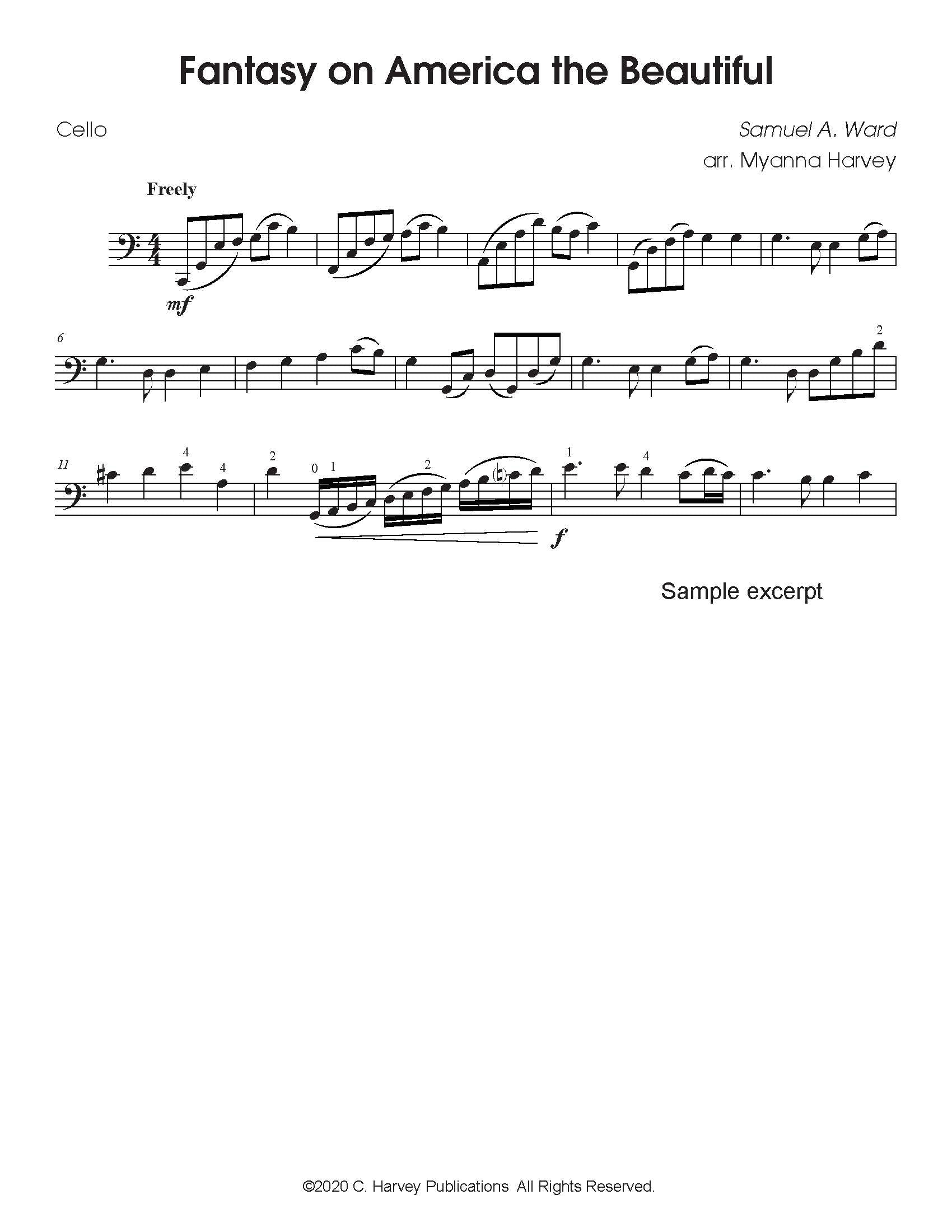 "Fantasy on ""America the Beautiful"" for Solo Cello - PDF Download"