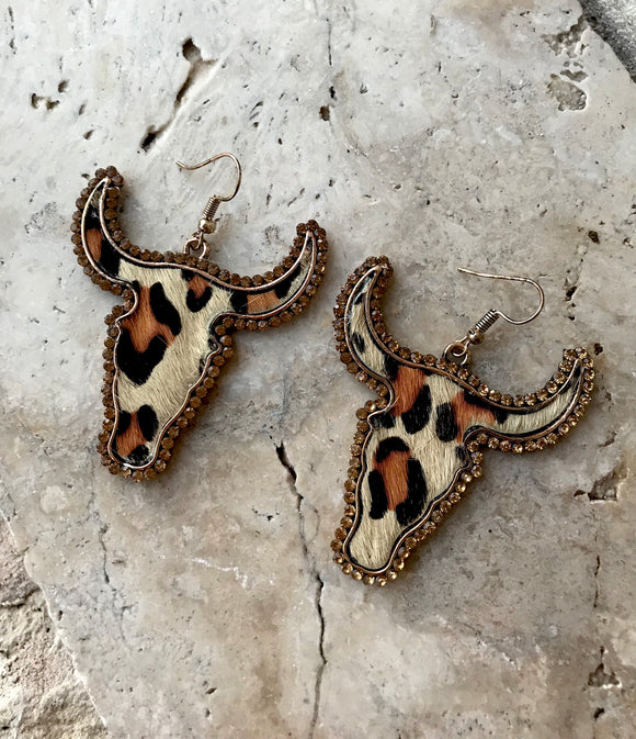 Longhorn Leopard Print Earrings