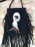 Fringe Feather Crossbody | Black
