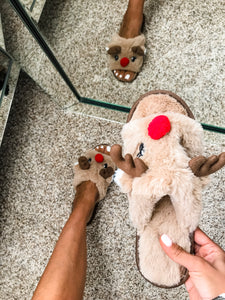 Reindeer Plush Slippers