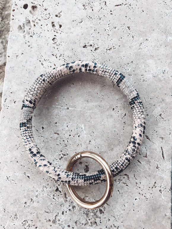Snake Skin Key Ring Bracelets | Tan