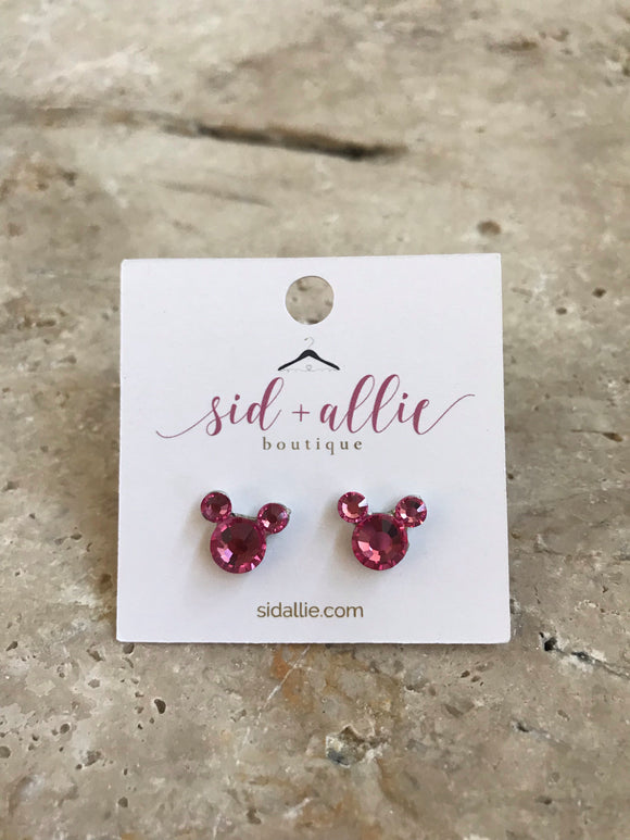 Mickey Ears Stud Earrings | Pink Topaz