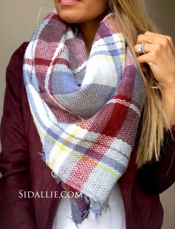 Plaid Blanket Scarf | Light Blue and Burgundy