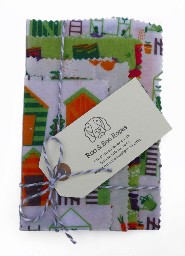 Beeswax food wraps - Set of 4 : Gardening (option 2)