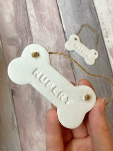 Personalised Clay Dog Bone Wall Hanging
