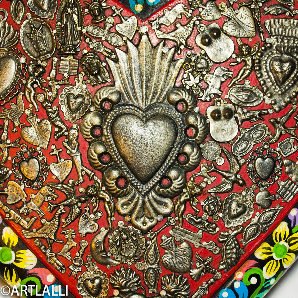painted wood heart from mexican craftman
