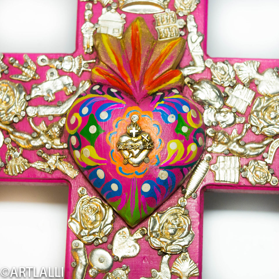mexican craftman painted wood cross