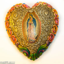 Load image into Gallery viewer, Wood Miracles Big Heart With Roses And Guadalupe Virgen