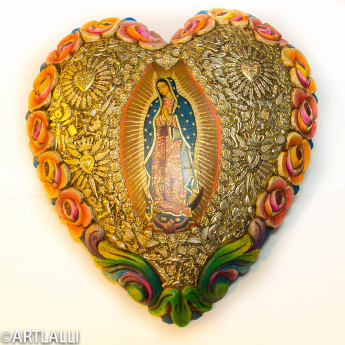 Wood Miracles Big Heart With Roses And Guadalupe Virgen