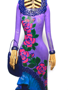 Catrina Medium Pink Dress With Purple Handbag