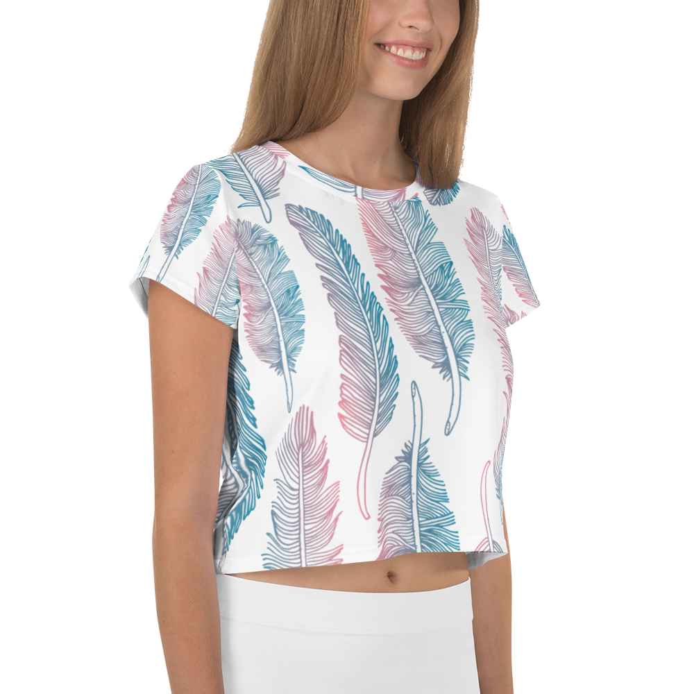 Feather All-Over Print Crop Tee