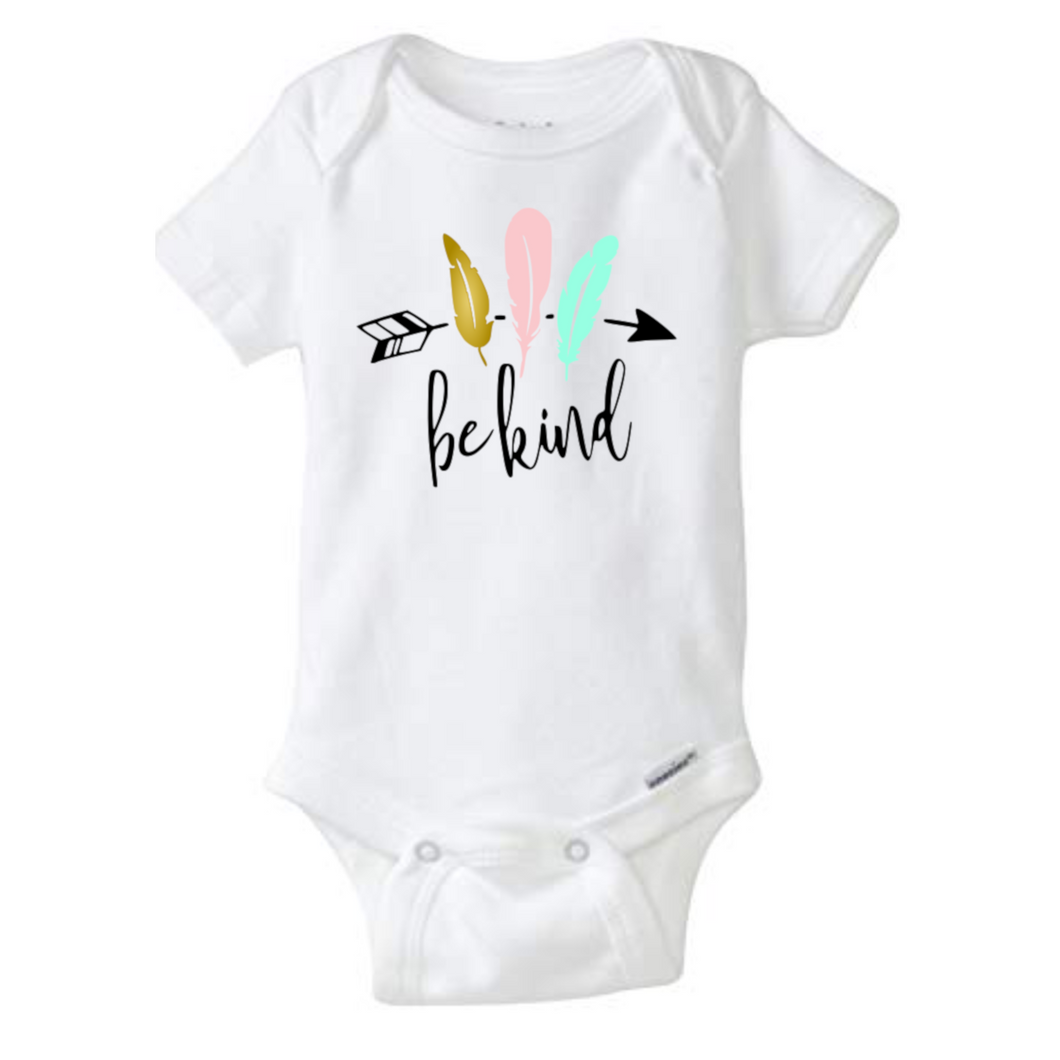 Be Kind - Infant Bodysuit - Kind Baby Bodysuit - Feathers