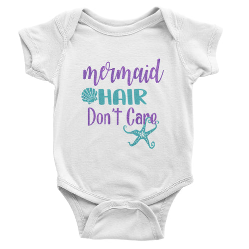 Mermaid Hair Don't Care - White Short Sleeve -Baby Bodysuit - Glitter