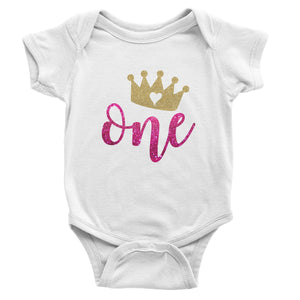 First Birthday - One - Princess Crown - White Short Sleeve Onesie -Baby Bodysuit