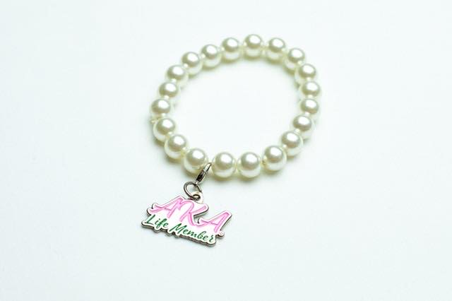 AKA Pearl Bracelet with Life Member Charm